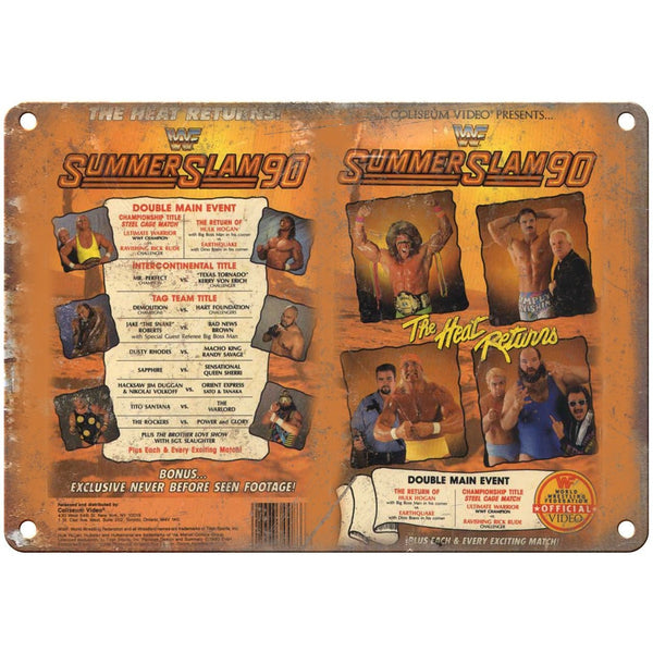 "WWF 1990 SUMMER SLAM VHS Cover Art Hulk Hogan 10"" x 7"" Reproduction Metal Sign"