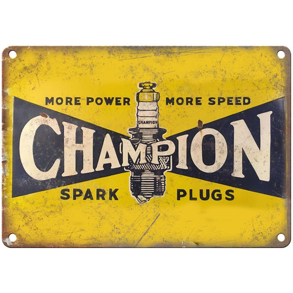 "Porcelain Look Champion Spark Plugs 10"" x 7"" Reproduction Metal Sign"