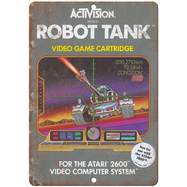 "Atari 2600 Activision Robot Tank Video Game 10"" x 7"" Retro Look Metal Sign"