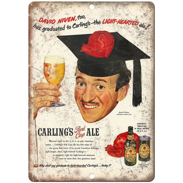 "Carling's Red Cap Ale Beer Ad 10"" x 7"" Reproduction Metal Sign E292"