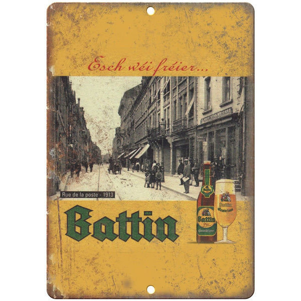 "Battin European Beer Vintage Ad 10"" x 7"" Reproduction Metal Sign E254"