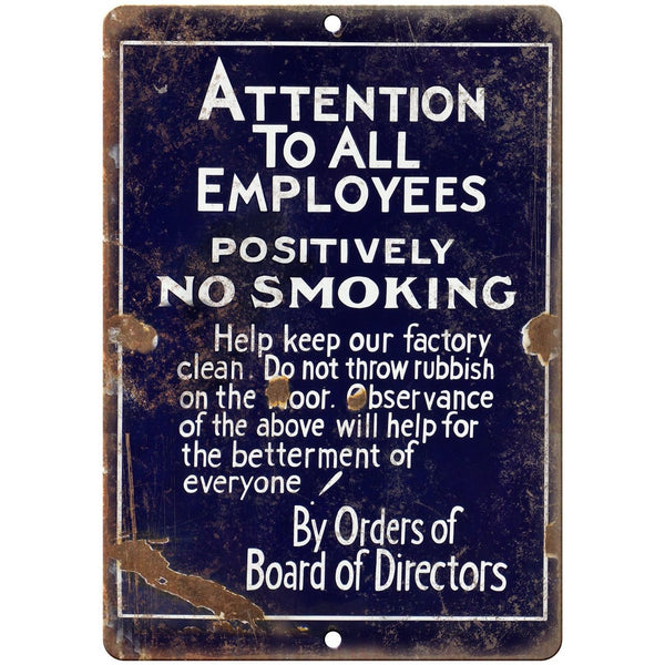 "Porcelain Look Attention No Smoking 10"" x 7"" Reproduction Metal Sign"