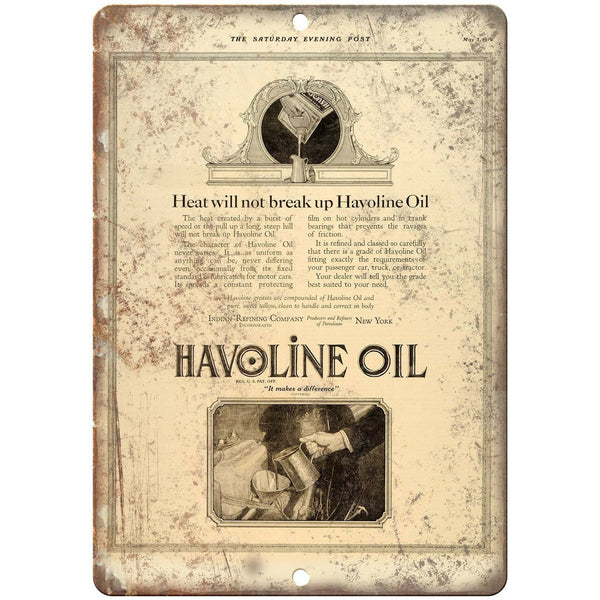 "Havoline Oil Vintage Ad 10"" X 7"" Reproduction Metal Sign A825"