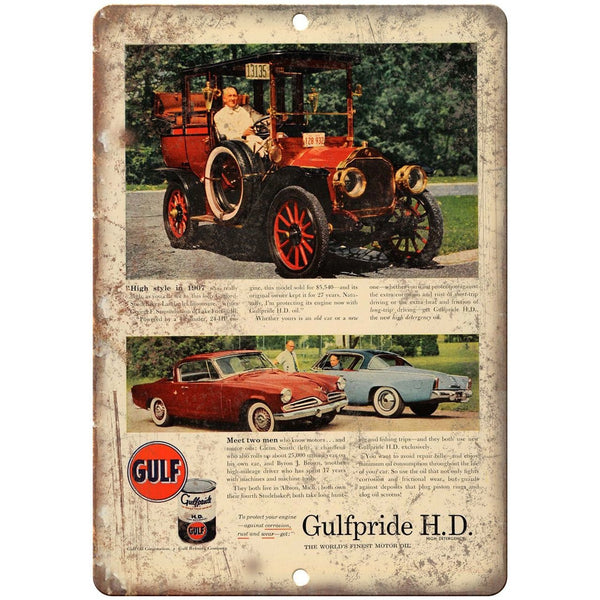 "Gulf Motor Oil Gulfpride H.D. Retro Print Ad 10""x7"" Reproduction Metal Sign A08"
