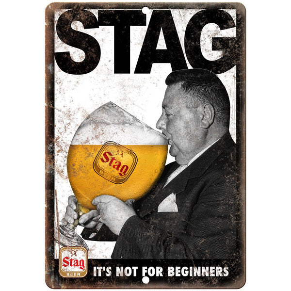 "Stag Beer Not For Beginners Vintage Ad 10"" x 7"" Reproduction Metal Sign E371"