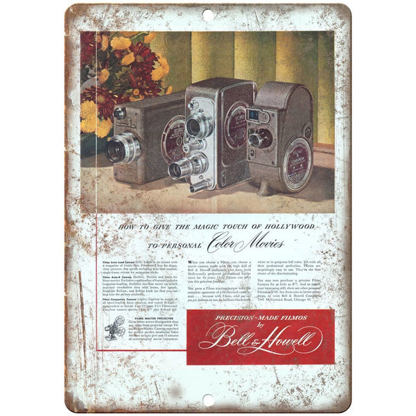 "1948 - Bell & Howell Movie Camera Ad - 10"" x 7"" Retro Look Metal Sign"