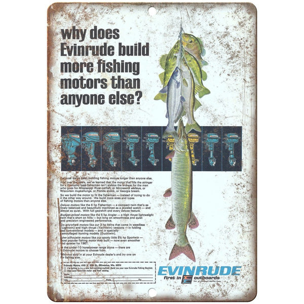 "Evinrude Outboard Motors Vintage Boating Ad10"" x 7"" Reproduction Metal Sign"