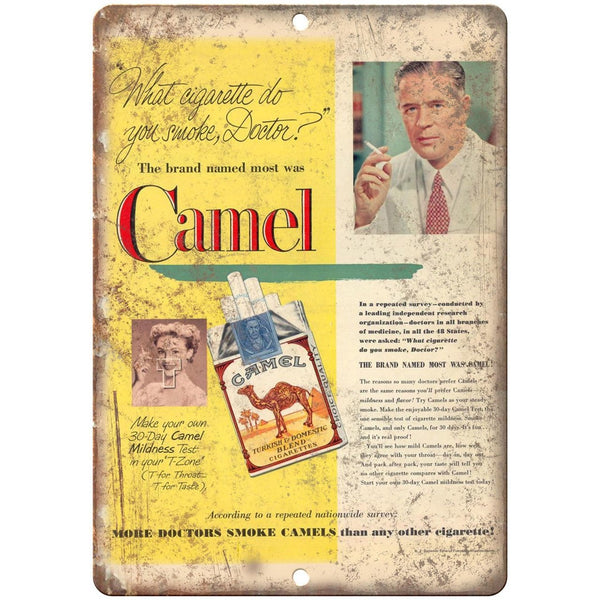 "More Doctors Smoke Camels Cigarette Ad 10"" X 7"" Reproduction Metal Sign Y09"