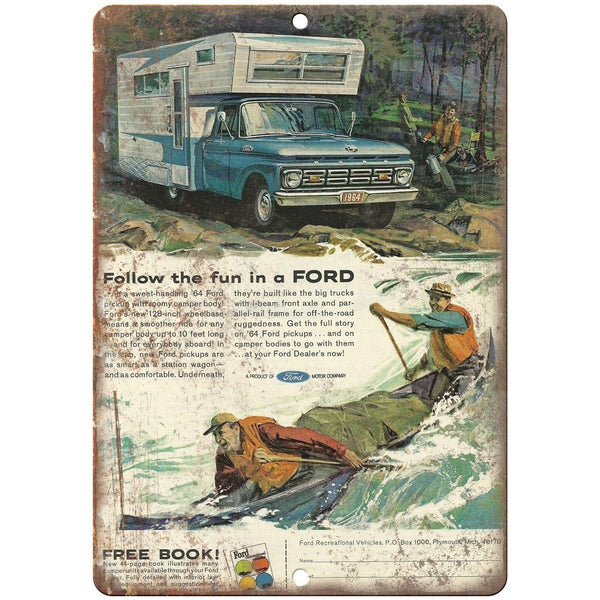 "1964 - Ford Pickup Truck Camper Ad- 10"" x 7"" Retro Look Metal Sign"
