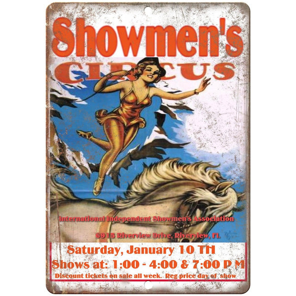 "Showmen's Circus Vintage Poster 10"" X 7"" Reproduction Metal Sign ZH139"