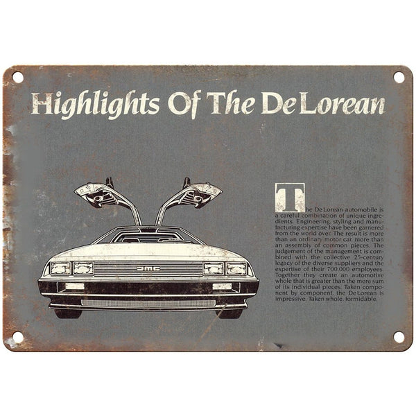 "AMC DeLorean Highlights Sales Ad - 10"" x 7"" Retro Look Metal Sign"