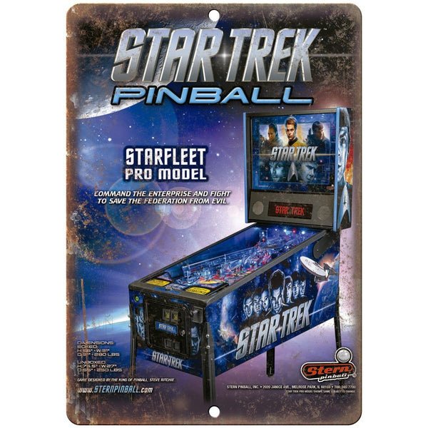 "Stern Pinball Star Trek Vintage Ad 10"" X 7"" Reproduction Metal Sign G67"