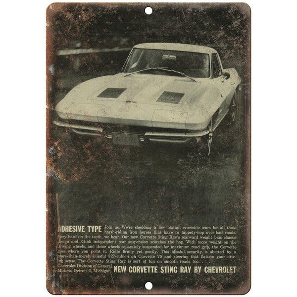 "Chevy Corvette Sting Ray Advertisment Retro 10"" x 7"" Reproduction Metal Sign"