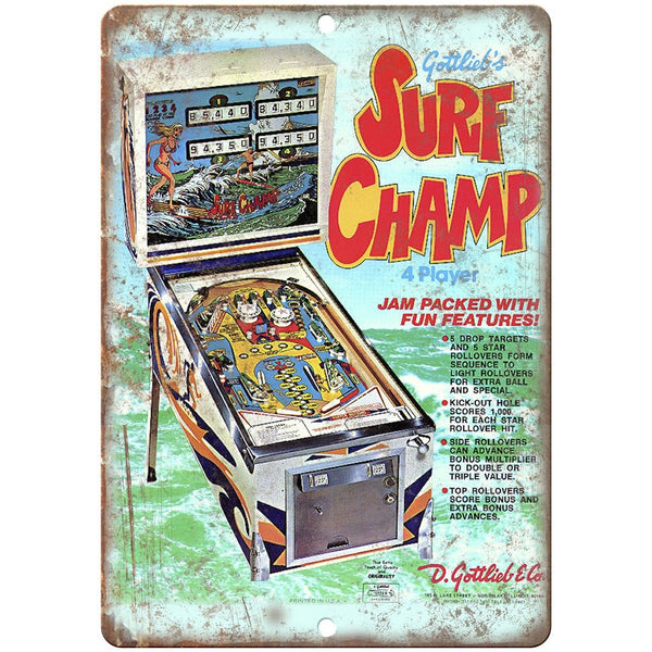 "Gottlieb's Pinball Machine Surf Champ Ad 10"" X 7"" Reproduction Metal Sign G69"