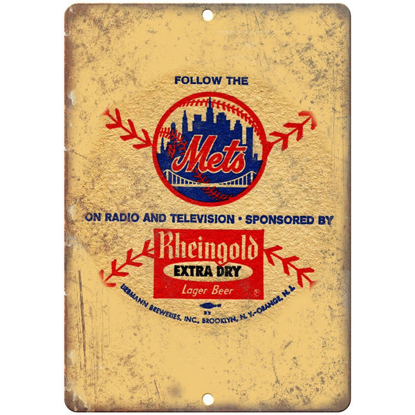 "Mets Rheingold Extra Dry Lager Beer Ad 10"" x 7"" Reproduction Metal Sign E280"