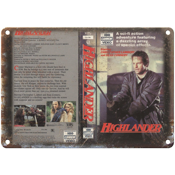 "Highlander HBO VHS Cannon Video Box Art 10"" X 7"" Reproduction Metal Sign V30"