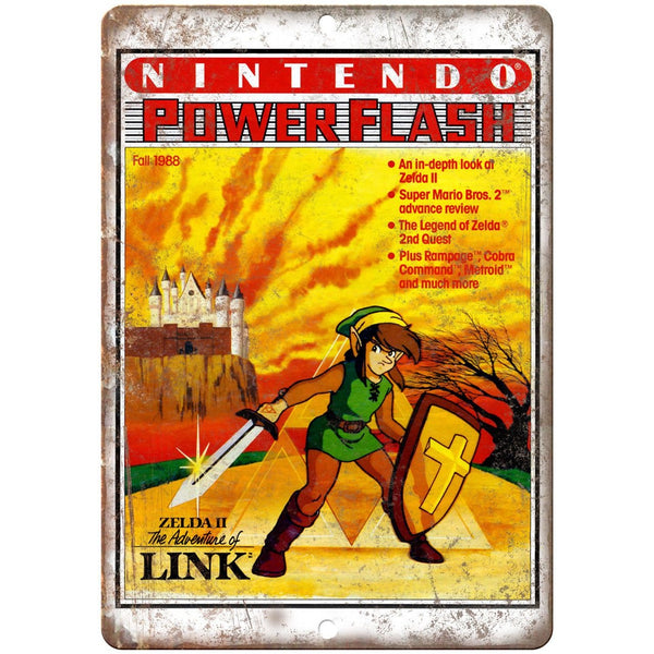 "Nintendo Power Zelda II Adventure of Link 10"" x 7"" Reproduction Metal Sign G285"
