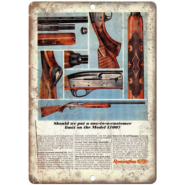 "Remington Model 1100 12, 16, 20 Guage Shotgun Vintage Ad 10"" x 7"" Metal Sign"