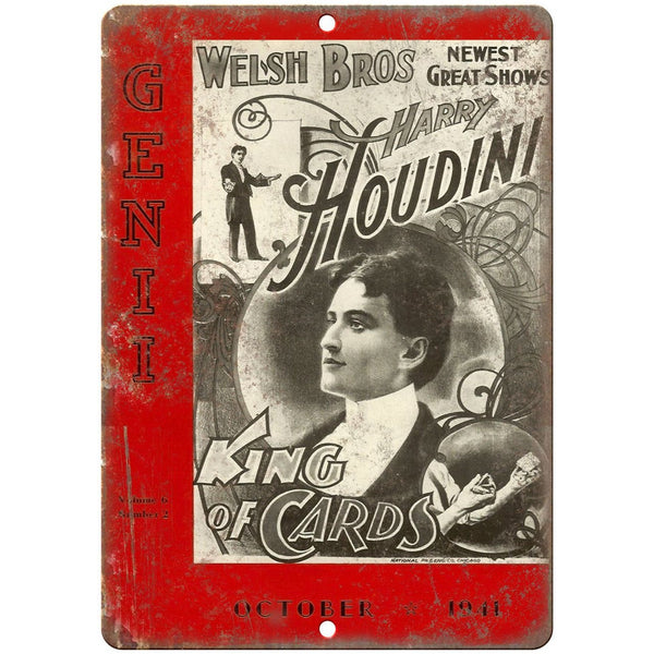 "Welsh Bros Harry Houdini King of Cards 10"" X 7"" Reproduction Metal Sign ZH176"