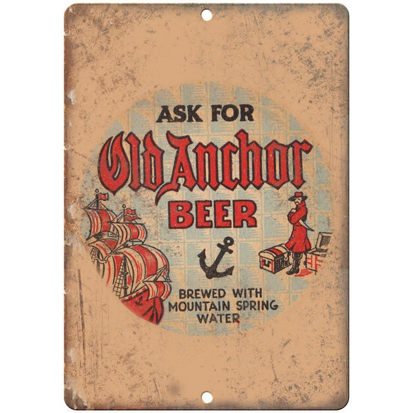 "Old Anchor Beer Vintage Man Cave Décor 10"" x 7"" Reproduction Metal Sign E243"