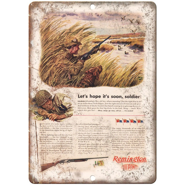 "Remington Rifle Dupont Soldier Return Home Vintage Ad 10"" x 7"" Metal Sign"