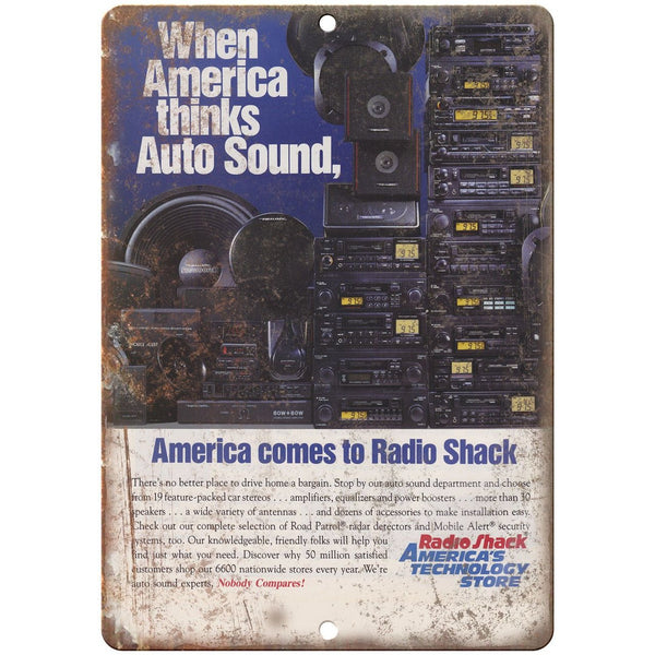 "Radio Shack Realistic CB AM/FM Car Stereo 10"" x 7"" Reproduction Metal Sign"