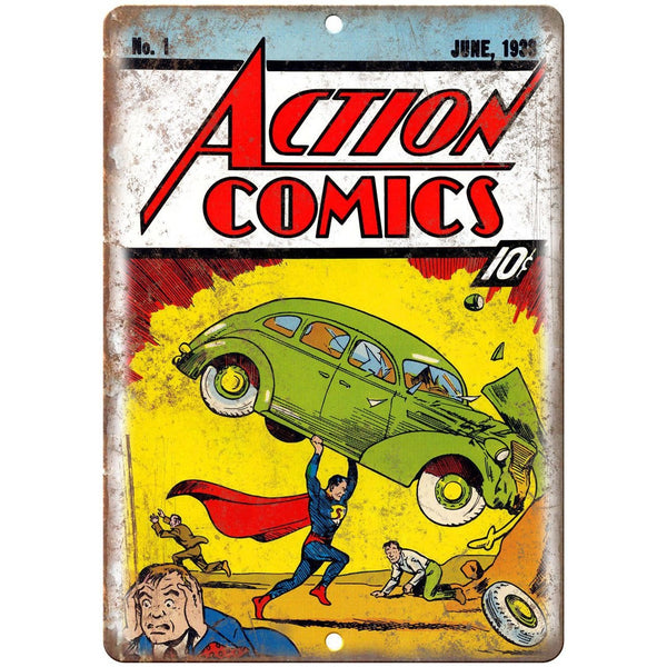 "Action Comics Vintage SuperMan Comic 10"" X 7"" Reproduction Metal Sign J420"