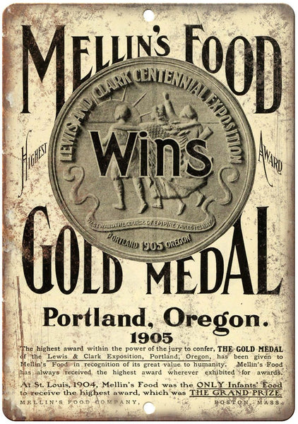 "1905 Mellin's Food Gold Medal Vintage Ad 10"" X 7"" Reproduction Metal Sign N249"