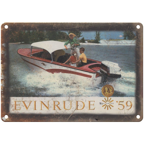 "Evinrude Outboard Motors 1959 Vintage Ad 10"" x 7"" Reproduction Metal Sign"