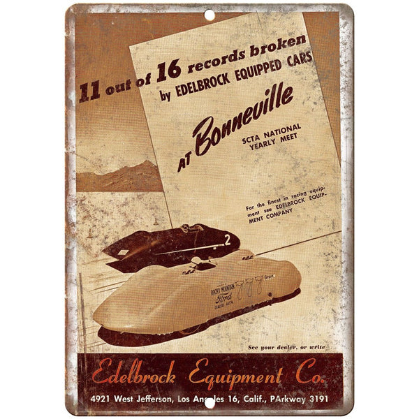 "Edelbrock Cars, Bonneville, Car Racing 10"" x 7"" Retro Metal Sign"