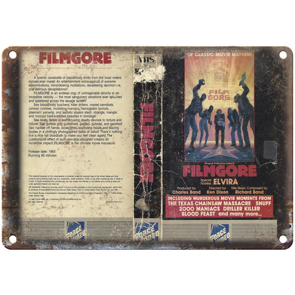 "Filmgore Elvira Force Video VHS Box Art 10"" X 7"" Reproduction Metal Sign V38"