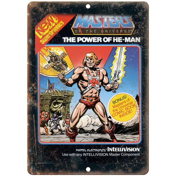 "Masters of the Universe He-Man Intellivision 10""x7"" Reproduction Metal Sign G108"