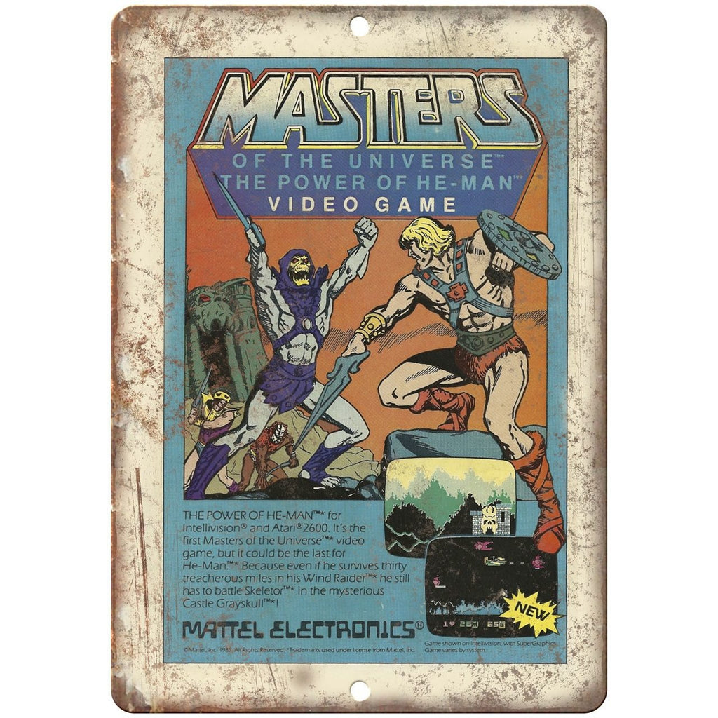 "Masters of The Universe Mattel Electronics Gaming 10"" x 7"" Retro Look Metal Sign"