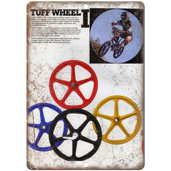 "Skyway BMX Vintage Mag Wheels Tuff Wheel 10"" x 7"" Reproduction Metal Sign B458"