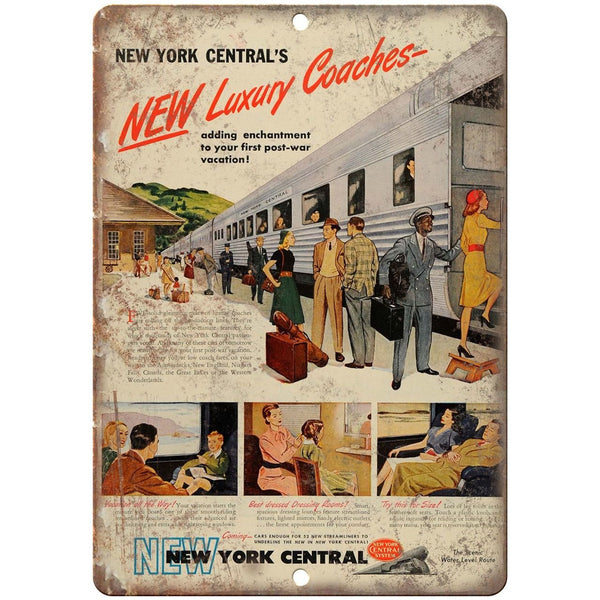 "New York Central Railroad Luxury Coaches 10"" x 7"" reproduction metal sign"