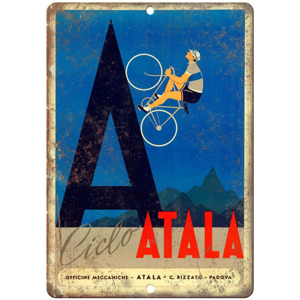 "Ciclo Atala Vintage Bicycle Ad 10"" x 7"" Reproduction Metal Sign B238"