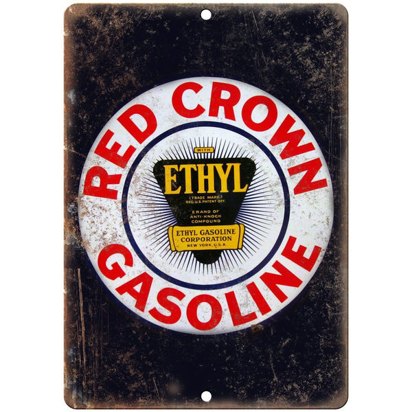 "Red Crown Gasoline Porcelain Look 10"" X 7"" Reproduction Metal Sign U79"