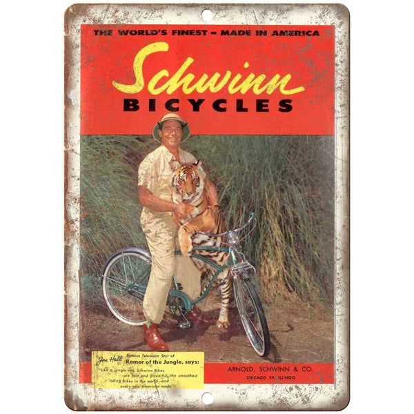 "1956 - Schwinn Bicycles Jon Hall Actor Ad - 10"" x 7"" Retro Look Metal Sign"