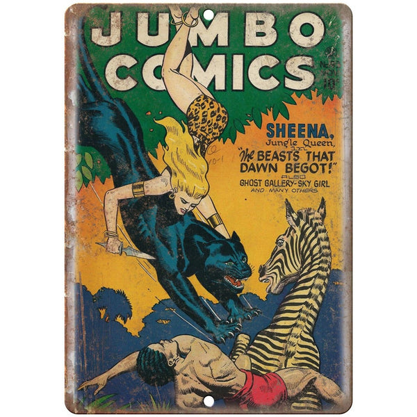 "Jumbo Comics Sheena Jungle Queen Comic 10"" X 7"" Reproduction Metal Sign J273"