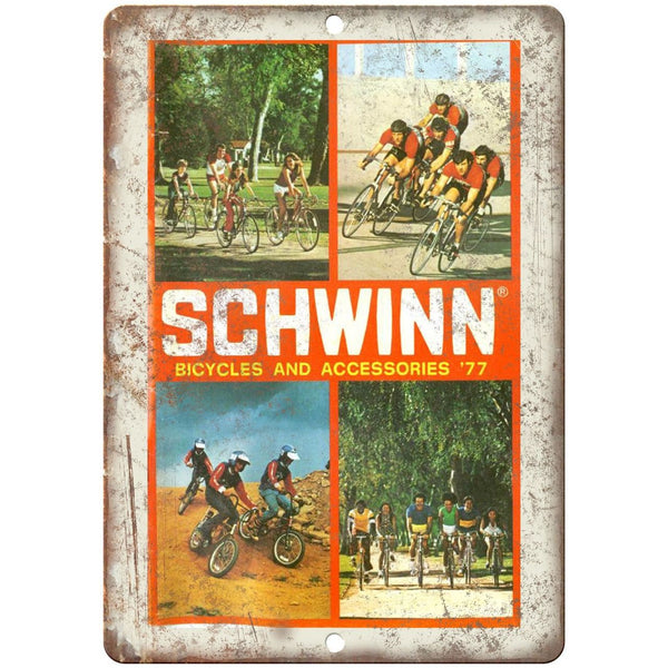 "1977 - Schwinn Bicycles and Accessories Catalog - 10"" x 7"" Retro Look Metal Sign"