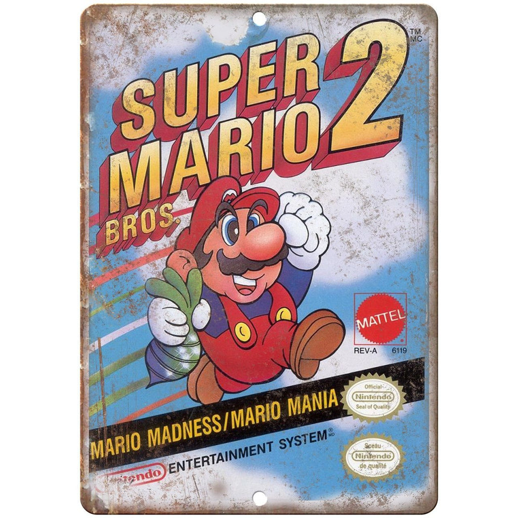 "Original Nintendo Super Mario Bros 2 Box Art 10""x7"" Reproduction Metal Sign A21"