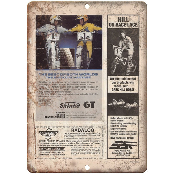 "10"" x 7"" Metal Sign - GT, Greg Hill, Shinko, BMX Ad - Vintage Look Reproduction"