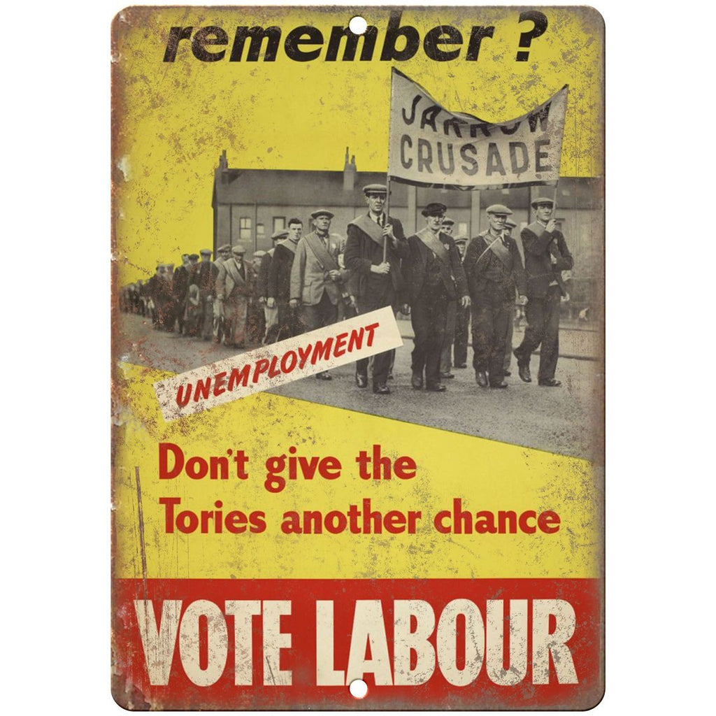 "England United Kingdom Vote Labour Party RARE 10"" x 7"" Reproduction Metal Sign"