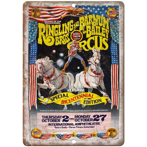 "Ringling Brothes Circus Bicentennial Ad 10""X7"" Reproduction Metal Sign ZH29"