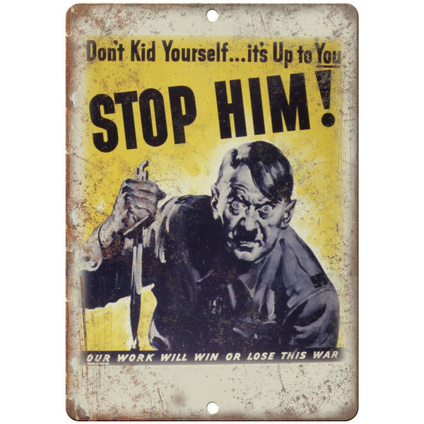 "Stop Hitler WWII RARE Vintage Poster Art 10"" x 7"" Reproduction Metal Sign M18"