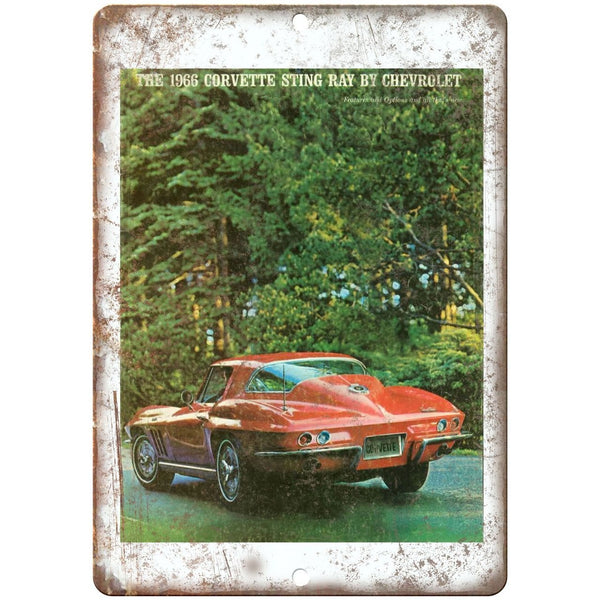 "1966 Chevy Corvette Sales Brochure 10"" x 7"" Reproduction Metal Sign"