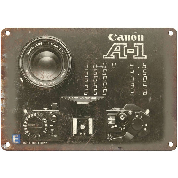 "Canon A-1 Film Camera Lens 10"" x 7"" Retro Look Metal Sign"