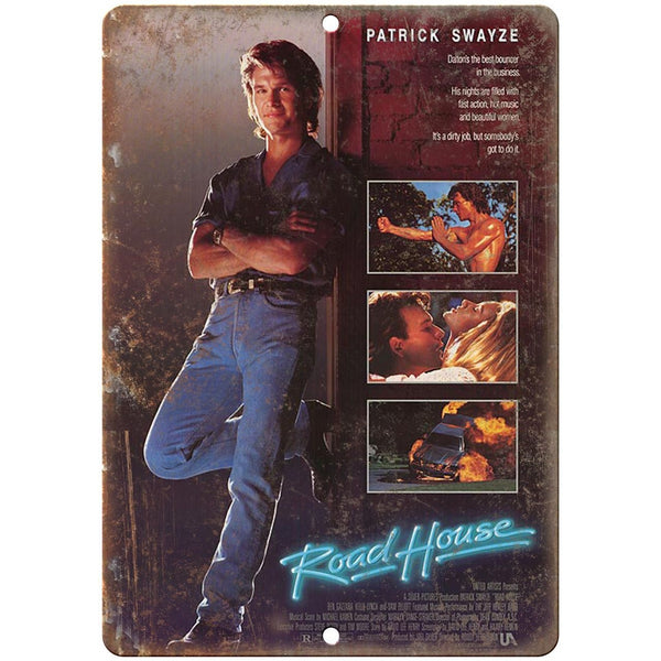 "Road House Movie Poster Patrick Swayze 10"" x 7"" Retro Look Metal Sign"