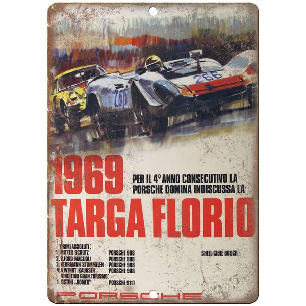 "1969 Targa Florio, Porsche, races, speedway 10"" x 7"" Retro Metal Sign"
