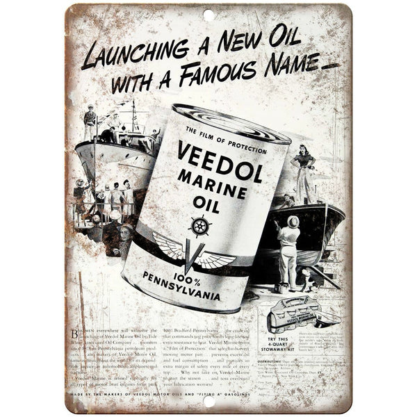 "Veedol Marine Oil Vintage Automobile Ad 10"" X 7"" Reproduction Metal Sign A728"